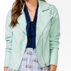 Beautiful mint green pleather jacket. Pristine!